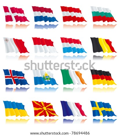 Set 1 - flags of european nations. Denmark, Netherlands, Bulgaria, Austria, Sweden, France, Germany, Belgium, Ireland, Luxembourg, Malta, Iceland, Macedonia, Monaco, San Marino, Ukraine. - stock vector