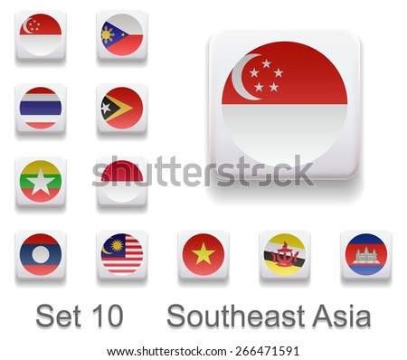 Set 10. Flags of the countries of Southeast Asia. Flag in the form of computer button. All elements and textures are individual objects. Each image has a name. Illustration. Vector. Icon.
