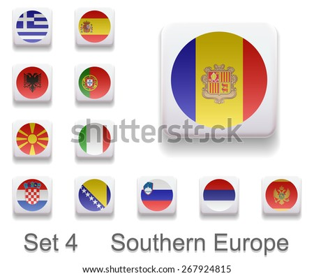 Set 4. Flags of the countries of Southern Europe. Flag in the form of computer button. All elements and textures are individual objects. Each image has a name. Illustration. Vector. Icon.