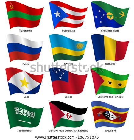 Set  Flags of world sovereign states. Vector illustration. Set number 13. Exact colors. Easy changes.