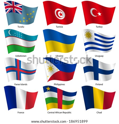 Set  Flags of world sovereign states. Vector illustration. Set number 16. Exact colors. Easy changes. - stock vector