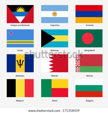 Set  Flags of world sovereign states. Vector illustration. Set number 2. Exact colors. Easy changes.