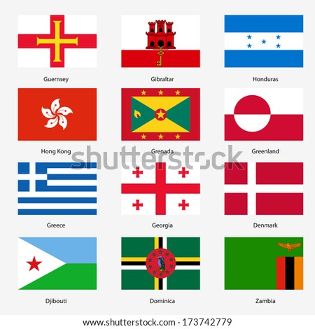 Set  Flags of world sovereign states. Vector illustration. Set number 5. Exact colors. Easy changes. - stock vector