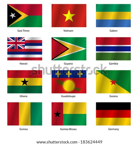 Set  Flags of world sovereign states. Vector illustration. Set number 4. Exact colors. Easy changes.