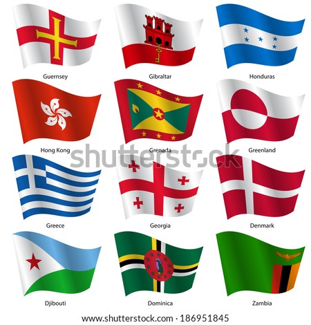 Set  Flags of world sovereign states. Vector illustration. Set number 5. Exact colors. Easy changes.