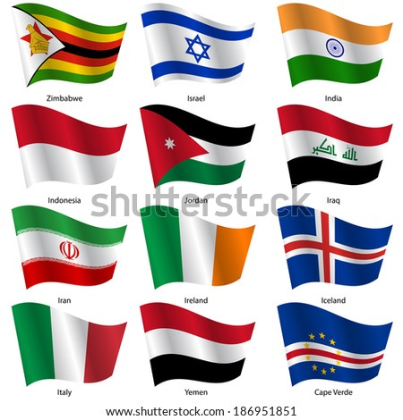 Set  Flags of world sovereign states. Vector illustration. Set number 6. Exact colors. Easy changes. - stock vector