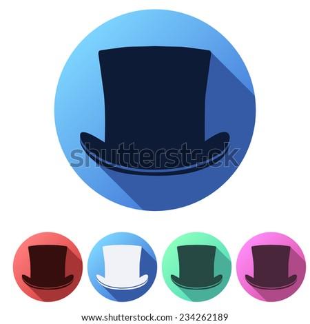 Set Flat icons of black gentleman hat cylinder. Vector Illustration - stock vector
