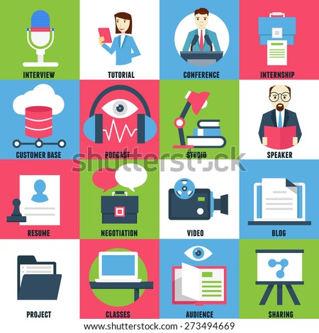 Set flat icons of business learning - vector icons - stock vector