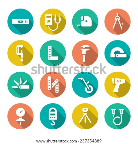Set flat icons of measuring tools isolated on white. Vector illustration - stock vector