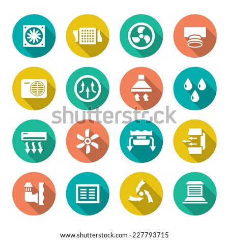 Set flat icons of ventilation and conditioning isolated on white. Vector illustration - stock vector
