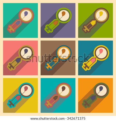 Set flat icons with long shadow artificial insemination  - stock vector