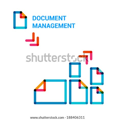 Set flat line icons on topic of document management, infographic illustration template for web or brochure.  - stock vector