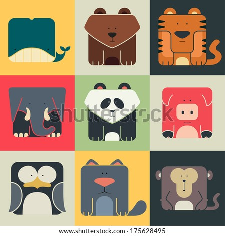Set flat square icons of a cute animals on color background. Wildness and Nature logos - stock vector