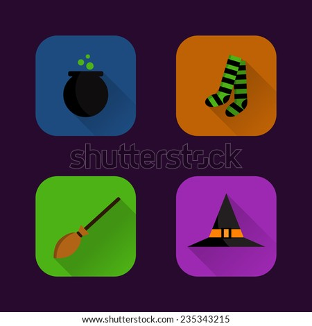 Set flat witches accessories icons  - stock vector