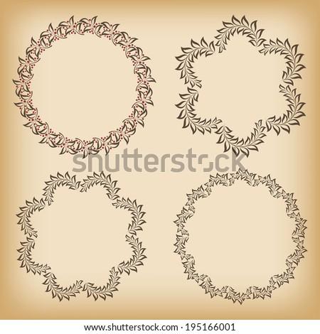 Set floral frames. Vector illustration. - stock vector