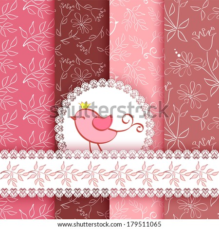 Set floral patterns and borders. Vector.