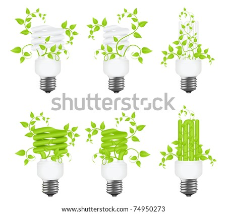 Set floral power saving lamps. Isolated on white background. Vector illustration.