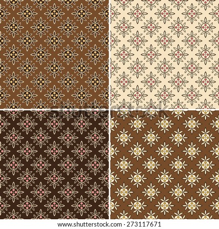 Set Floral seamless pattern in different colors, vector - stock vector