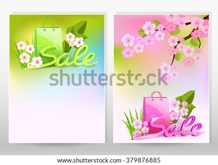 Set flyer or cover design with spring and summer sale.