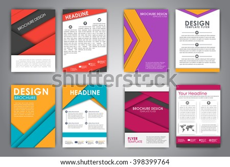 Set Flyers Brochures For Advertising Print Reports Or Covers Material Design