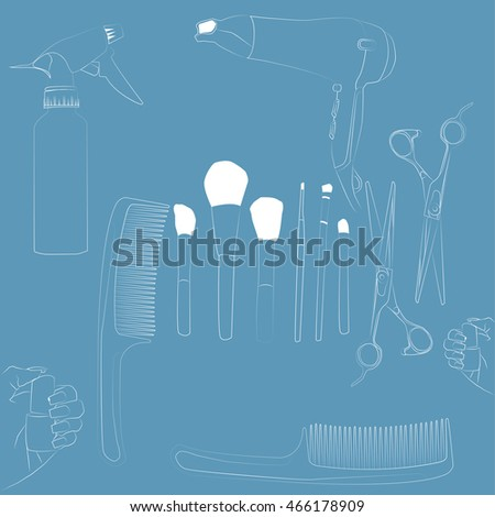 Set for a barber shop blue background