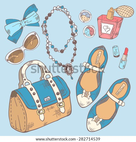 Set for beauty, makeup and style in blue tones. Vector illustration. - stock vector