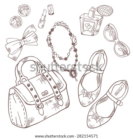 Set for beauty, makeup and style. Sketching. Vector illustration - stock vector