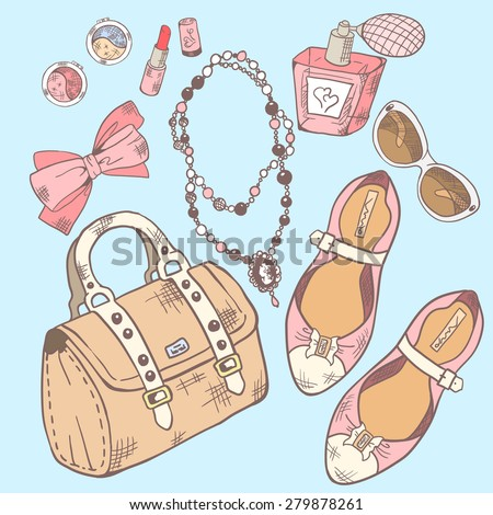 Set for beauty, makeup and style. Vector illustration - stock vector