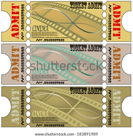 Set for cinema tickets, labels. retro the poster for cinema,  line text,  retro movie camera, style, vector. vector picture of the brochure. EPS 10 - stock vector
