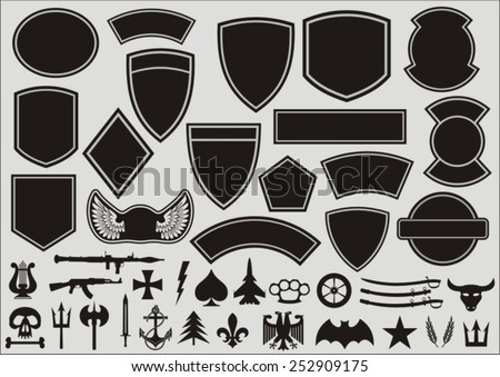 Set for designing of military patches - stock vector