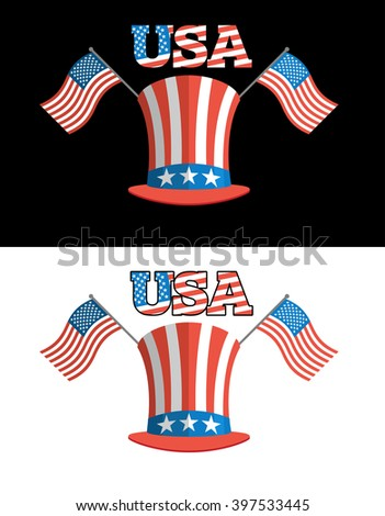 Set for elections in America. Uncle Sam hat. American flag. Set for political debate in United States. National Patriotic hat in America. Set USA election symbols - stock vector