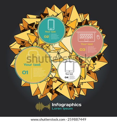 Set for infographics on a dark background with abstract three-dimensional figures - stock vector