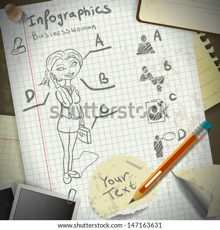 Set for infographics with stationery and business woman drawing pencil - stock vector