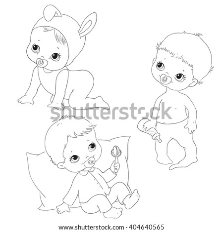 Set for kids coloring books. Baby crawling, sitting, standing. Black and white line vector. - stock vector