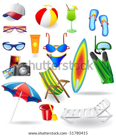 set for rest on a sun sea and beach vector illustration isolated on white background - stock vector