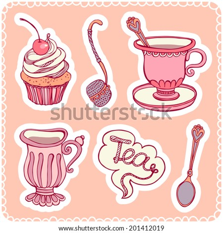Set for tea. Crockery, dessert and sticker. - stock vector