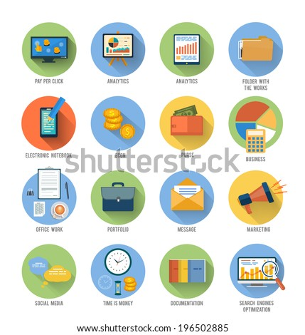 Set for web and mobile applications of office work, social media, seo search optimization, pay per click, analysis of documents, purse, time is money, marketing concepts items icons in flat design - stock vector