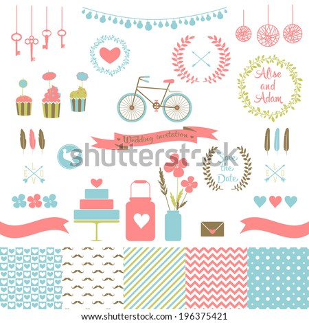 Set for wedding design. Includes a cake, cupcakes, flags, arrows, frames, hearts, banks, keys, bicycle, pigeons, seamless floral, stripes, doted, chevron patterns. Love elements for your design Eps 10 - stock vector