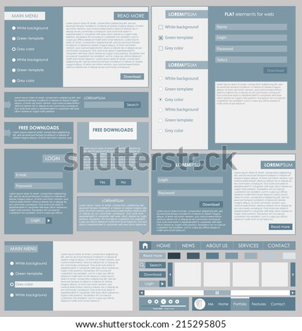 Set: forms and design element for web in flat design. new vector - stock vector