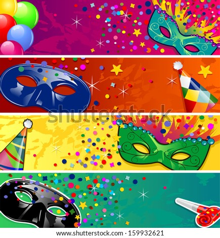 Set four banners vector carnival masks with horns ideal for parties-transparency blending effects and gradient mesh-EPS10 - stock vector