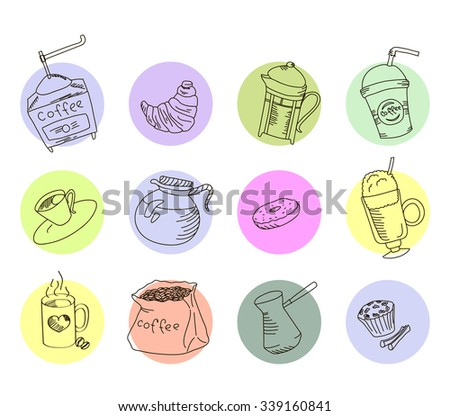 Set freehand drawing sweets bakery cafe coffee drinks doodles, flat design, vector illustration - stock vector