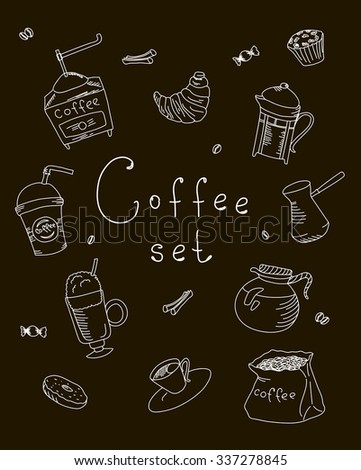 Set freehand drawing sweets bakery cafe coffee drinks doodles, vector illustration - stock vector