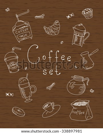 Set freehand drawing sweets bakery cafe coffee drinks doodles, wood texture, vector illustration - stock vector