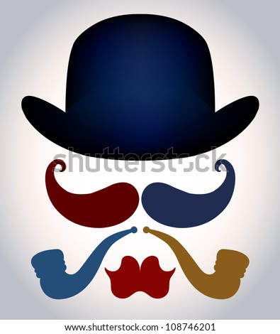 Set from a retro of elements: bowler, moustache, tobacco pipe and lips. - stock vector