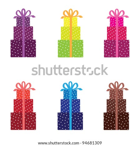 Set from  gift boxes - stock vector