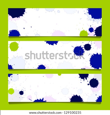 set from three banners with watercolor inkblot - stock vector