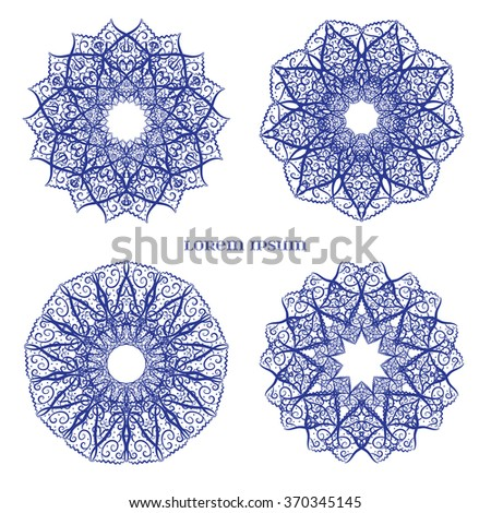 Set from Vector Blue Indian Curl Ornament.  - stock vector