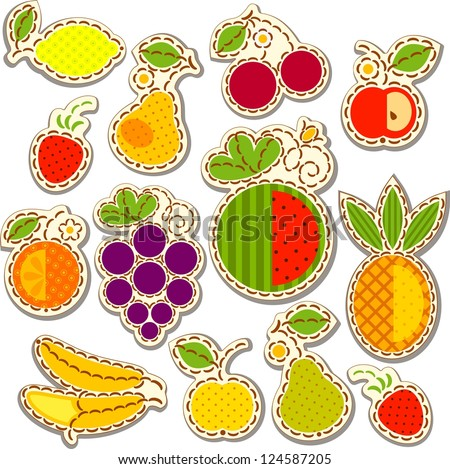 Set fruit and berry, decorated with embroidery on the elements of the original background. Vector