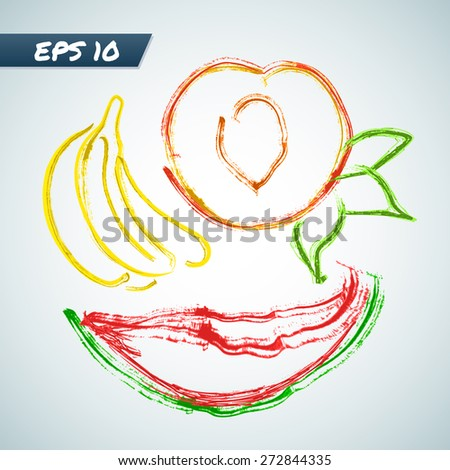 Set fruit in grungy style. Vector illustration - stock vector