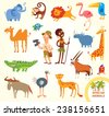 Set funny african animals. Cartoon character. Isolated on white background. Elephant, monkey, lion, flamingo, toucan, rhino, camel, giraffe, crocodile, parrot, cheetah, wildebeest, ostrich, oryx - stock